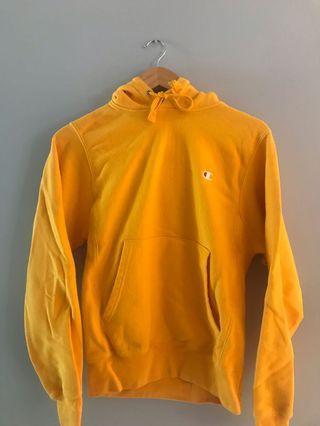 champion reverse weave yellow hoodie xs