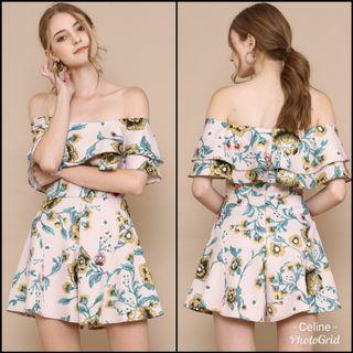 SPG Emily Floral Off Shoulder Ruffle Romper Playsuit (Supergurl)