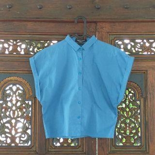 Boxy Cotton Shirt Biru