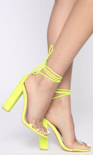 Neon yellow heels FashionNova
