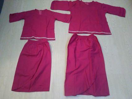 kurung moden cotton fushia pink 2 & 4 years like new