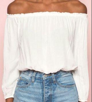 brandy melville off the shoulder white top!!