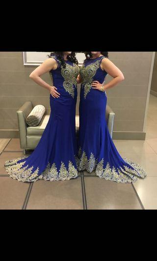 Blue and gold evening gown