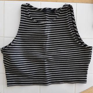 Talula B&W striped crop top