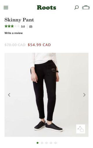 Roots reflective skinny pant size XS