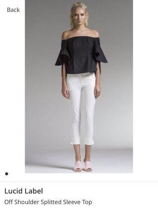 🚚 BN LUCID The Label Off Shoulder Spitted Sleeve Top
