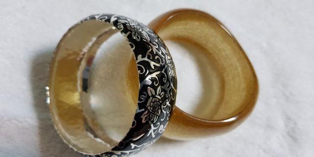 銀製刻花手環(黑)