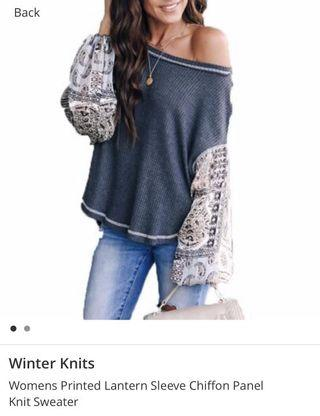 🚚 BN Printed Lantern Sleeve Chiffon Panel Knit Sweater