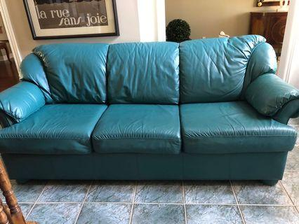 Leather love seat and 3 seater sofa set
