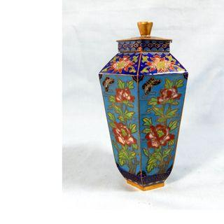 Antique Chinese cloisonne vase container lid hand crafted retired c. mid 1900s