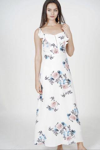 Mds ourea maxi dress in white floral