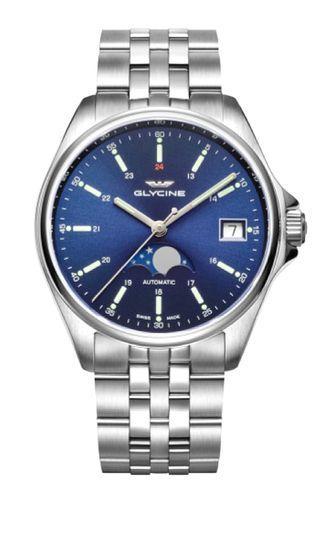Glycine 瑞士冠星錶 , MOON PHASE 月相盈虧 機械自動 ,瑞士製造, 40mm,全新, 零瑕疵, full set. REF: 14857