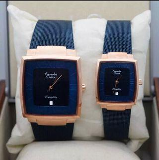 Jam tangan Couple ALexander Christie AC 8328 Rose Gold Bule