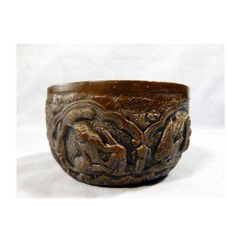 Chinese antique bronze bowl with bas relief ancient animals rare retired 1930s 8