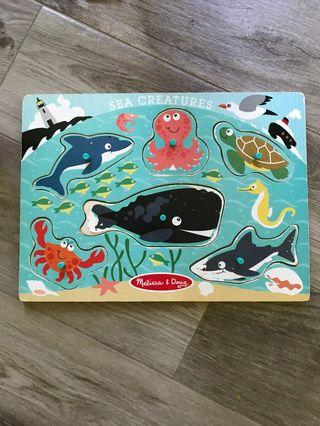 Melissa & Doug Sea Creatures Wooden Puzzle