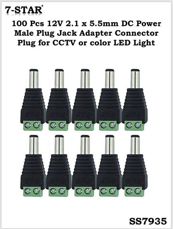 100 PCS 2.1x 5.5mm Male Jack Plug Connector for 12V DC Power Adapter CCTV Camera