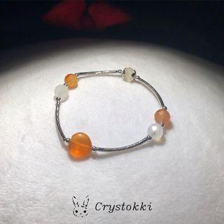 Handmade Carnelian and Milky Quartz Crystal Silver Tubed Bracelet