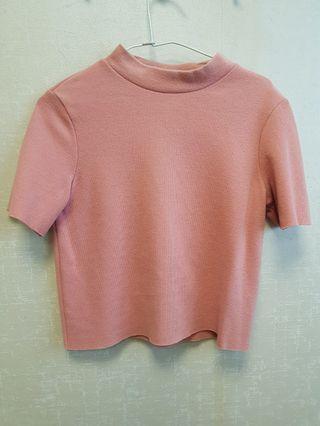 九成新 ZARA 粉色 短版 上衣
