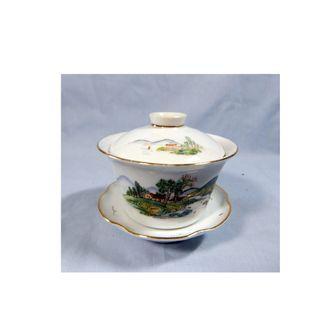 Antique Blanc De Chine porcelain teacup set hand painted landscaspe circa 1950s