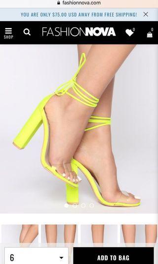 FASHION NOVA Lace up Neon heels