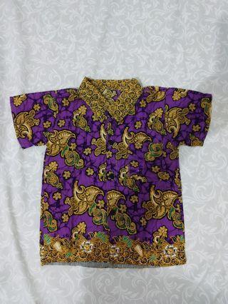 Kemeja batik ungu baby