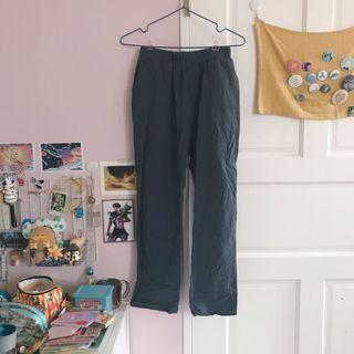 🚚 灰色棉麻八分褲