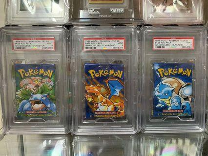 Pokemon 1st Edition Base Set Packs Factory Sealed PSA
