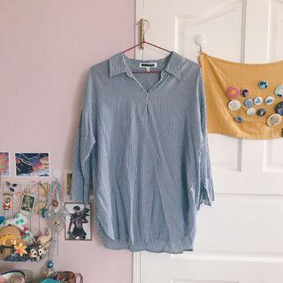 🚚 H:connect藍白條紋襯衫