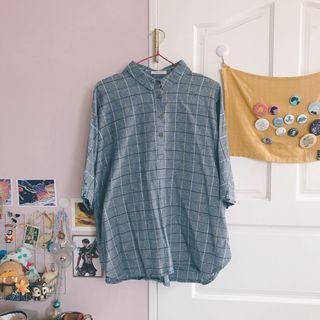 🚚 七分袖格子襯衫