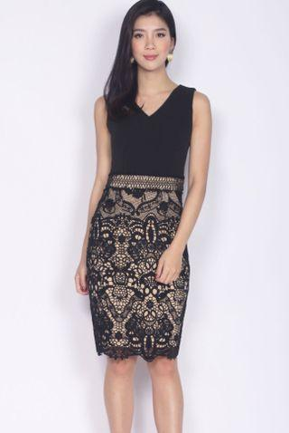 TDC premium keiko crochet pencil dress in black