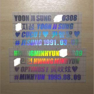 yoon jisung & hwang minhyun holo decal name stickers