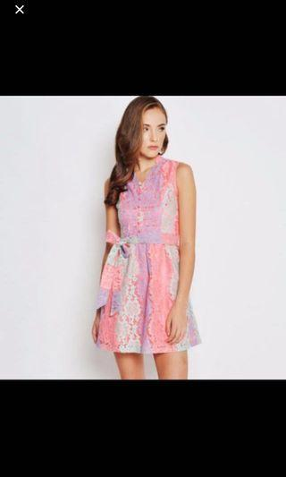 Love And Bravery LAB Coloured Dreams Lace Cheongsam With Sash Pink