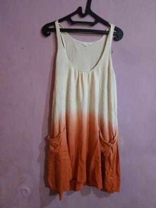 Mididress knit ombre tank top dress import rajut