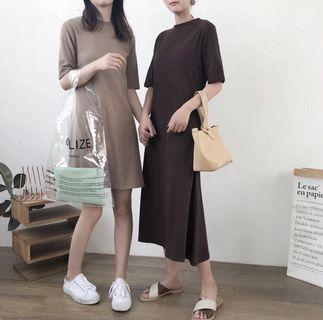 🚚 Basic sleeved midi dress in dark brown