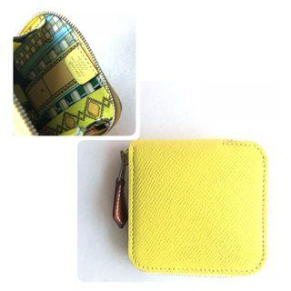 🚚 Hermes - Lime Silk In Coin Pouch in Veau Epsom
