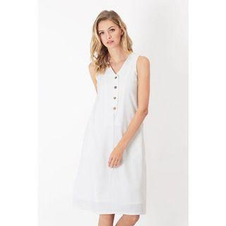🚚 AFA AFORARCADE HANNAH BUTTON TANK DRESS IN WHITE