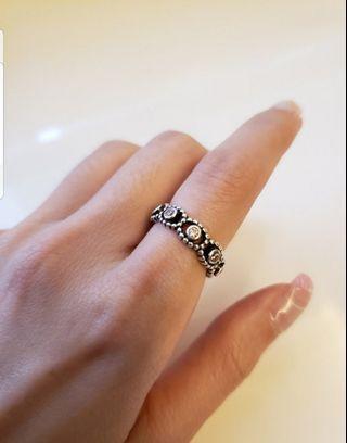 pandora ring with pink zodiac
