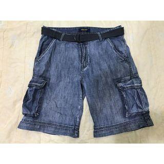 二手 Zara Youth 牛仔工作短褲  藍色/32