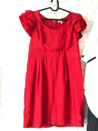 紅色宴會連身裙荷葉袖