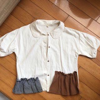 日系 拼接短袖襯衫