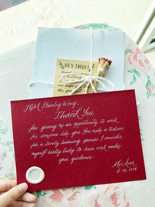 Thank you cards calligraphy - Personalised