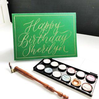 Personalised handmade birthday cards with calligraphy