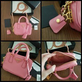 Authentic Prada Saffiano Lux Mini Chain Bag Fullset