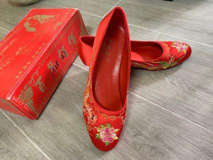 中式褂鞋 紅鞋 紅色鞋