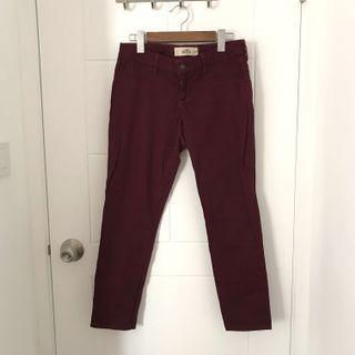 Hollister 酒紅色長褲 jeans burgundy hco