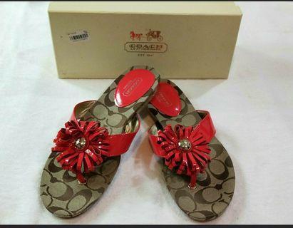🚚 美國購回COACH 全新真品 女款夾鞋 涼鞋 紅色 7.5碼