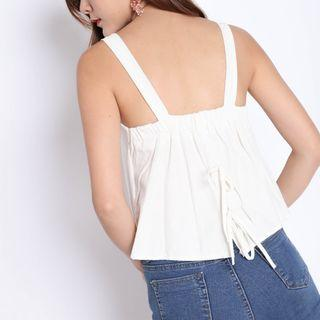 Linen Double Ribbon Back Top in White