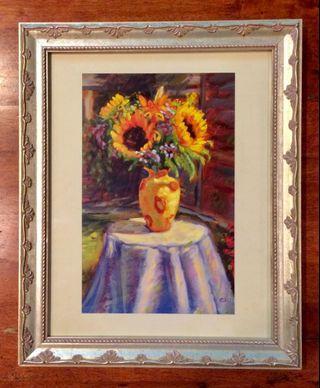 Sunflower in Vase Art Print painted by Keith Hansz by Mouth