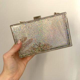 Glitter acrylic clear clutch