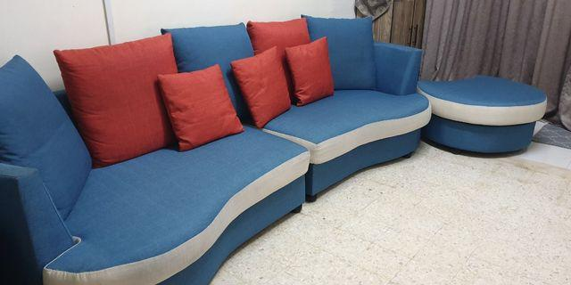 4 seater Sofa with stool. Fresh colors.